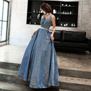 Glitter Starry Sky Pool Blue Prom Dresses 2019 A-Line / Princess V-Neck Sleeveless Rhinestone Sash Floor-Length / Long Ruffle Backless Formal Dresses