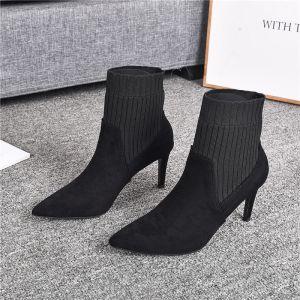 Simple Noire Vêtement de rue Tricot Daim Bottes Femme 2020 Bottines 8 cm Talons Aiguilles À Bout Pointu Bottes