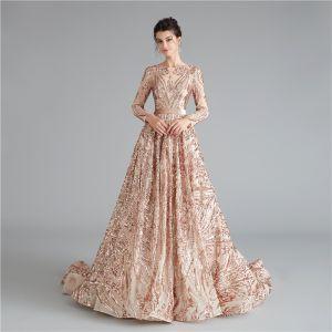 Elegant Gold Evening Dresses  2020 A-Line / Princess Square Neckline Long Sleeve Sequins Sash Court Train Ruffle Backless Formal Dresses