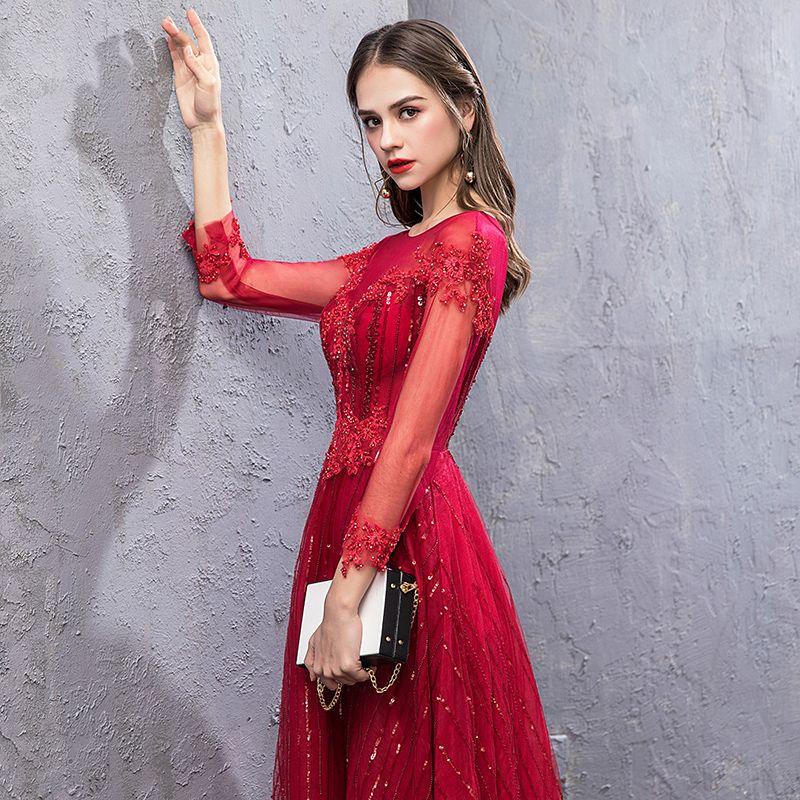 Chic / Belle Bordeaux Robe De Soirée 2019 Princesse Encolure Dégagée Fait main Perlage Cristal Paillettes Dos Nu Manches Longues Longue Robe De Ceremonie