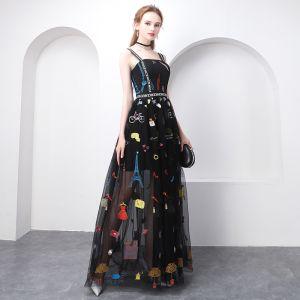 Chic / Beautiful Black Evening Dresses  2018 A-Line / Princess Cartoon Spaghetti Straps Backless Sleeveless Floor-Length / Long Formal Dresses