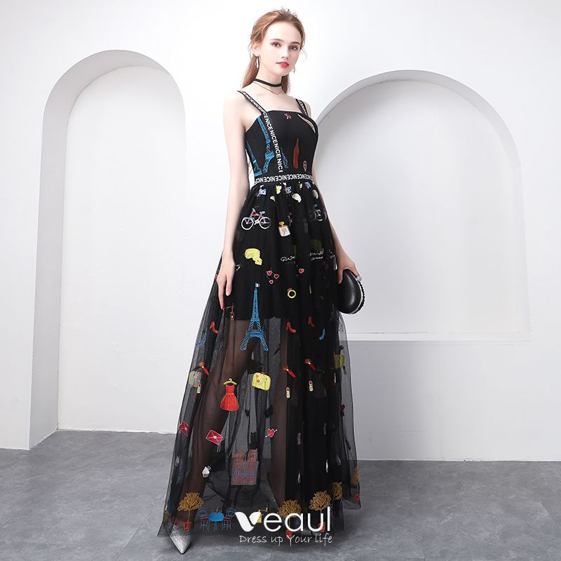 Chic / Beautiful Black Evening Dresses 2018 A,Line / Princess Cartoon  Spaghetti Straps Backless Sleeveless Floor,Length / Long Formal Dresses