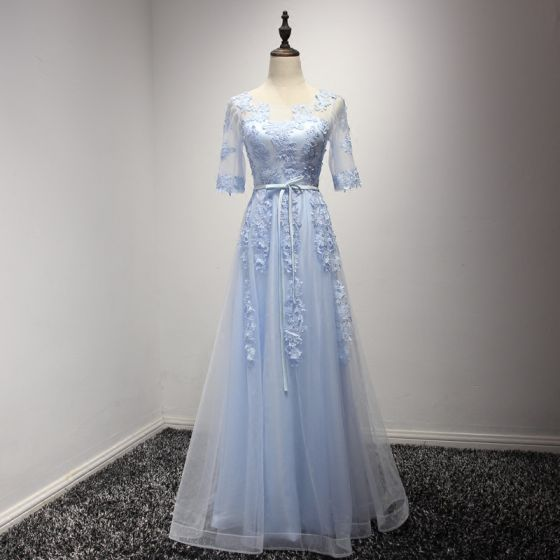 Elegant Sky Blue Evening Dresses  2017 A-Line / Princess Floor-Length / Long Cascading Ruffles Scoop Neck 1/2 Sleeves Backless Lace Appliques Sash Pierced Formal Dresses