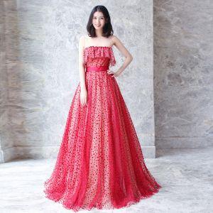 Abordable Rouge Transparentes Robe De Bal 2018 Princesse Encolure Dégagée Sans Manches Ceinture Tachetée Tulle Longue Volants Robe De Ceremonie