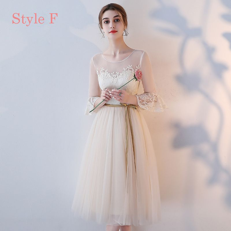 Chic / Beautiful Champagne Bridesmaid Dresses 2017 A-Line / Princess Appliques Lace Tea-length Ruffle Backless Wedding Party Dresses