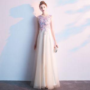 Eleganckie Szampan Sukienki Na Bal 2019 Princessa Wycięciem Aplikacje Z Koronki Kwiat Bez Rękawów Długie Sukienki Wizytowe