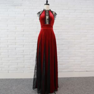 Chic / Beautiful Burgundy Evening Dresses  2018 Empire Lace Flower Suede Scoop Neck Backless Sleeveless Floor-Length / Long Formal Dresses