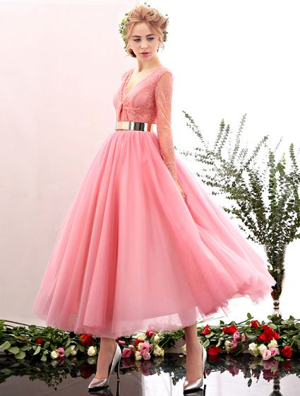 2016 Beautiful Deep V-neck Lace Ruffle Backless Pink Tulle Prom Dress With Metal Sash
