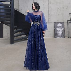 Classy Royal Blue Evening Dresses  2020 A-Line / Princess High Neck Sequins Lace Flower Long Sleeve Backless Floor-Length / Long Formal Dresses