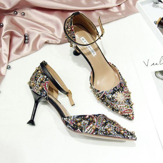 Chic / Belle Noire Soirée Chaussures Femmes 2019 Bride Cheville Perle Faux Diamant 5 cm Talons Aiguilles À Bout Pointu Talons Hauts