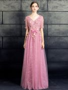 Robe De Bal Belles 2017 V-cou Applique Dentelle Fleurs Robe Rose
