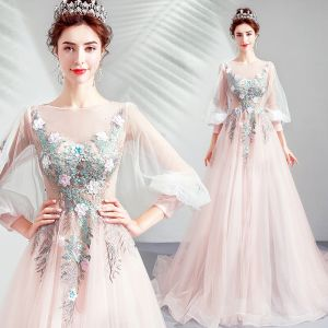 Elegant Blushing Pink Prom Dresses 2019 A-Line / Princess Scoop Neck Embroidered Appliques Pearl Rhinestone 3/4 Sleeve Sweep Train Formal Dresses