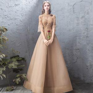 Élégant Doré Robe De Soirée 2019 Princesse En Dentelle Perlage Cristal Col Haut Dos Nu 1/2 Manches Longue Robe De Ceremonie