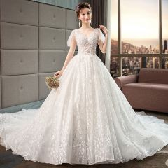 Illusion Ivory Wedding Dresses 2019 A-Line / Princess V-Neck Short Sleeve Backless Appliques Lace Beading Chapel Train Ruffle