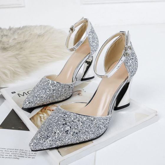Sparkly Silver Evening Party Womens Sandals 2020 Ankle Strap Sequins 8 cm Stiletto Heels Pointed Toe Sandals