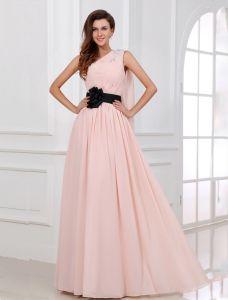 Schöne Rosa Abendkleid Lang Eine Schulter Festliche Kleider Mit Blume Schärpe