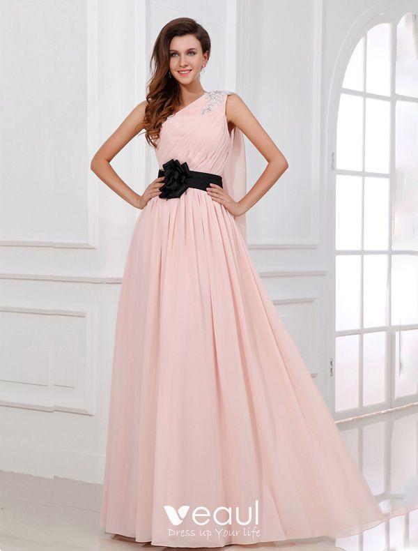 Schone Rosa Abendkleid Lang Eine Schulter Festliche Kleider Mit Blume Scharpe