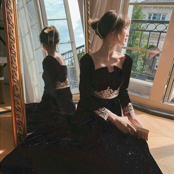 Błyszczące Czarne Sukienki Wieczorowe 2021 Princessa Kwadratowy Dekolt Długie Rękawy Aplikacje Z Koronki Cekinami Poliester Długość Kostki Wzburzyć Bez Pleców Sukienki Wizytowe