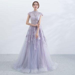 Elegant Lavender Evening Dresses  2017 A-Line / Princess High Neck Short Sleeve Appliques Lace Sweep Train Ruffle Pierced Formal Dresses