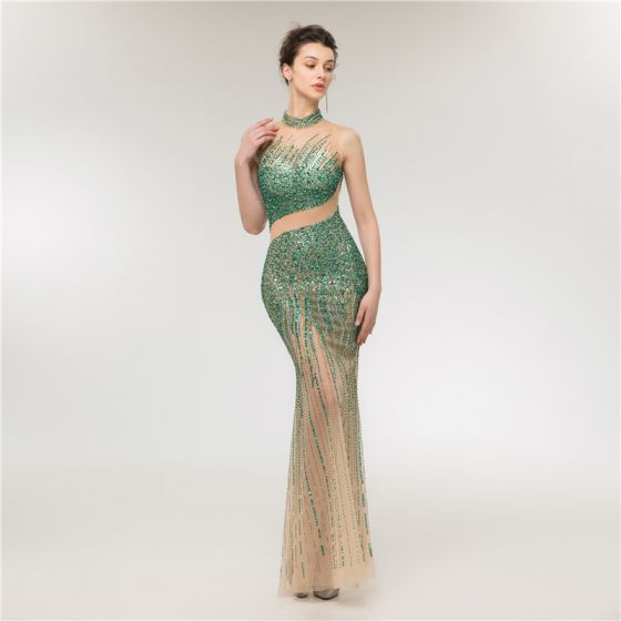 Sexy Dark Green Champagne See-through Evening Dresses  2020 Trumpet / Mermaid High Neck Sleeveless Sequins Beading Floor-Length / Long Ruffle Formal Dresses