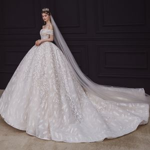 Luxury / Gorgeous Champagne Bridal Wedding Dresses 2020 Ball Gown Off-The-Shoulder See-through V-Neck Short Sleeve Backless Appliques Sequins Beading Glitter Tulle Royal Train Ruffle