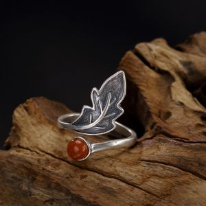Vintage / Retro Silver Handmade  Leaf Faith Ring Sterling Silver Rave Club Rings 2019 Accessories