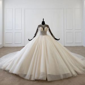 Luxury / Gorgeous Champagne Ball Gown Wedding Dresses 2020 Scoop Neck Long Sleeve Crossed Straps Backless Beading Crystal Rhinestone Sequins Cathedral Train Wedding