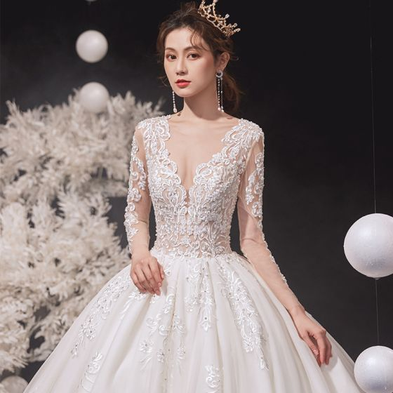 Luxury / Gorgeous Ivory Wedding Dresses 2020 Ball Gown Scoop Neck Beading Lace Flower Long Sleeve Backless Cathedral Train