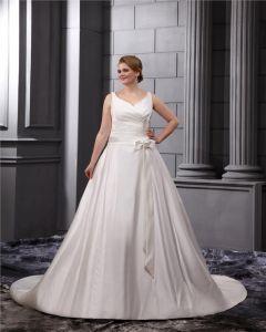 Satin V-Neck Empire Sweep Plus Size Wedding Dresses