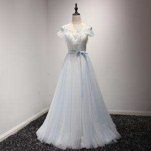 Elegant Formal Dresses 2017 Evening Dresses  Sky Blue Grey Sweep Train A-Line / Princess Cascading Ruffles Scoop Neck Short Sleeve Backless Sash Beading Crystal Sequins Pearl