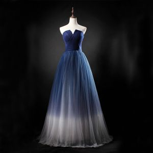 Chic / Beautiful Gradient-Color Prom Dresses 2019 A-Line / Princess Strapless Sleeveless Backless Floor-Length / Long Formal Dresses