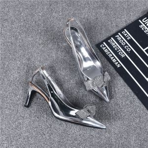 Modern / Fashion Silver Evening Party Womens Shoes Leather 2019 Ankle Strap Rhinestone Bow 6 cm Stiletto Heels Pointed Toe High Heels