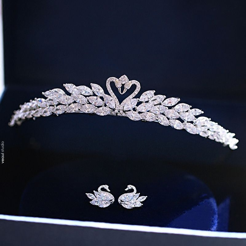 Chic / Beautiful Prom 2017 Silver Metal Rhinestone Tiara Bridal Jewelry