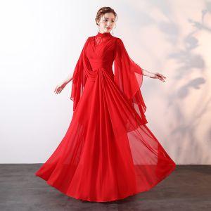 Moderne / Mode Rouge Longue Robe De Soirée 2018 Princesse Col Haut Tulle Perlage Faux Diamant Fait main Soirée Robe De Ceremonie