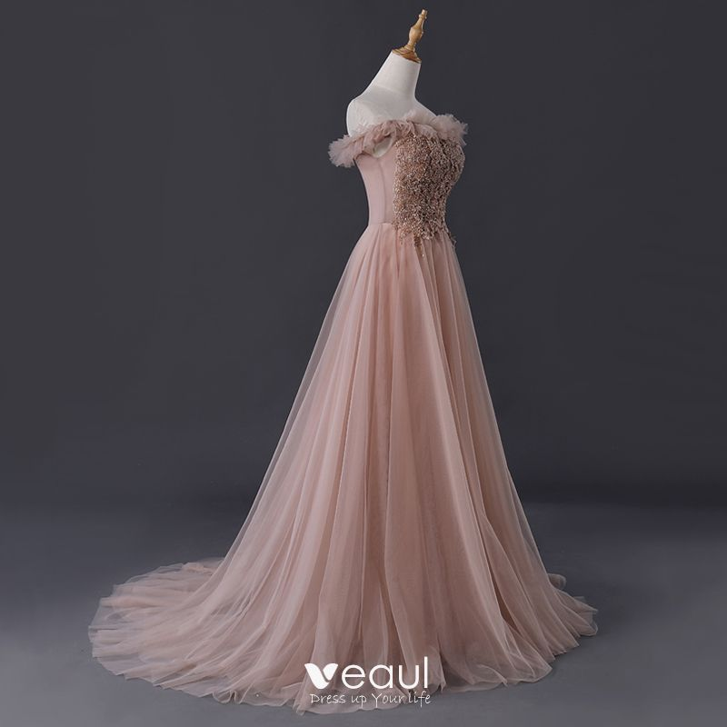 Elegant Pearl Pink Evening Dresses  2019 A-Line / Princess Off-The-Shoulder Short Sleeve Beading Sweep Train Ruffle Backless Formal Dresses