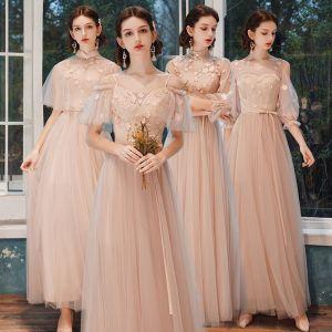 Abordable Perle Rose Robe Demoiselle D'honneur 2021 Princesse Dos Nu Appliques Fleur Paillettes Ceinture Longue Volants