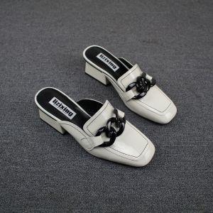 Vintage Weiß Freizeit Pantolette & Flip-Flops 2019 Leder Thick Heels Quadratische Zehe Damenschuhe