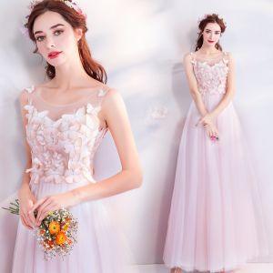 Hermoso Rosa Transparentes Vestidos de noche 2018 A-Line / Princess Scoop Escote Sin Mangas Apliques mariposa Largos Ruffle Vestidos Formales