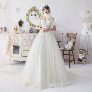 Ivory Wedding Dresses 2019 A-Line / Princess Off-The-Shoulder Puffy Short Sleeve Backless Appliques Lace Crystal Beading Court Train Ruffle