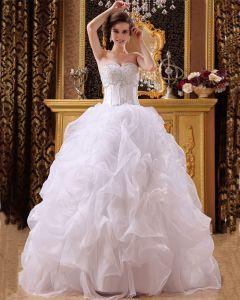 Rebordear Organza De Raso Vestidos De Novia Palabra De Longitud Cariño Vestido De Bola