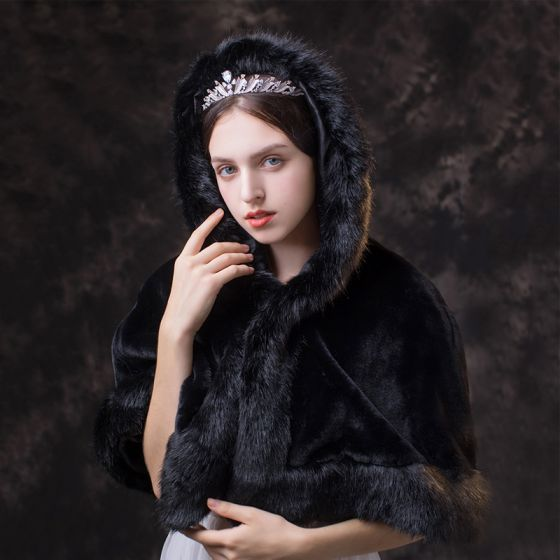 Classy Glamorous Black shawl 2020 Suede Polyester Shawls High Neck Bridal Wedding Prom Winter Accessories