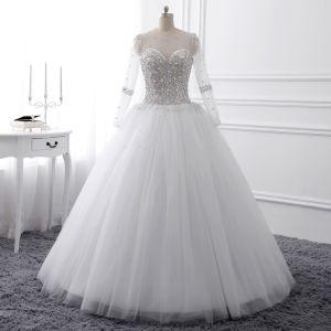 Luxus / Herrlich Weiß Kristall Brautkleider 2017 Rundhalsausschnitt Lange Ärmel Perlenstickerei Strass Perle Pailletten Lange Ballkleid