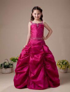 Red A-linie Taft Bodenlangen Blumenmädchen-kleid Kommunionkleider
