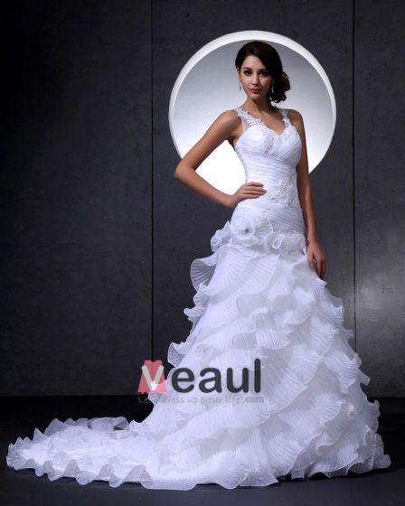 Eleganta Spetsar Organza V-ringad Blomma Beading Katedralen Tag Sjojungfru Klänning Brudklänningar Bröllopsklänningar