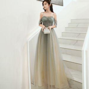Elegant Army Green Evening Dresses  2020 A-Line / Princess Spaghetti Straps Beading Sequins Short Sleeve Backless Floor-Length / Long Formal Dresses
