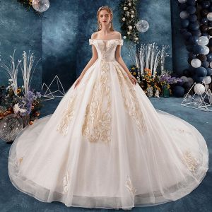 Classy Champagne Wedding Dresses 2019 A-Line / Princess Off-The-Shoulder Beading Rhinestone Sequins Lace Flower Short Sleeve Backless Royal Train