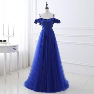 Chic / Beautiful Royal Blue Evening Dresses  2018 A-Line / Princess Beading Sequins Sash Spaghetti Straps Backless Sleeveless Sweep Train Formal Dresses