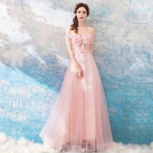 Chic / Belle Perle Rose Robe De Soirée 2018 Princesse Longue Tulle Dentelle Appliques Dos Nu Perlage Bustier Soirée Robe De Ceremonie
