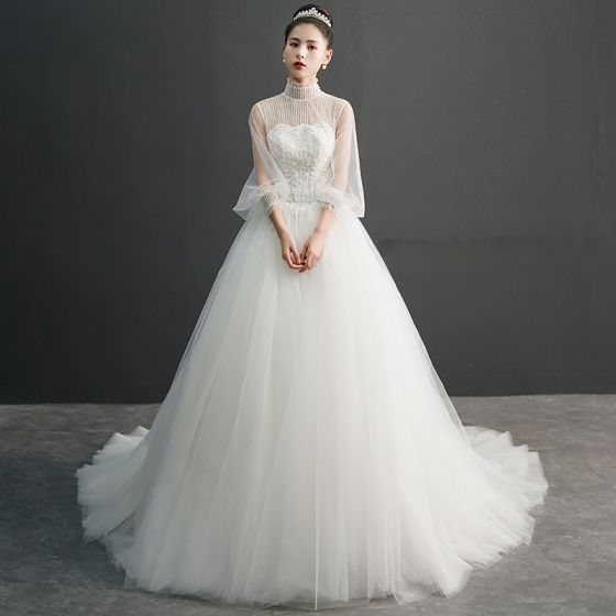 Vintage / Retro Ivory See-through Wedding Dresses 2019 Ball Gown High Neck Puffy 3/4 Sleeve Appliques Lace Beading Pearl Chapel Train Ruffle