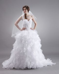 Sweetheart Organza Embroidery Ruffles Sweep Bridal Ball Gown Wedding Dress